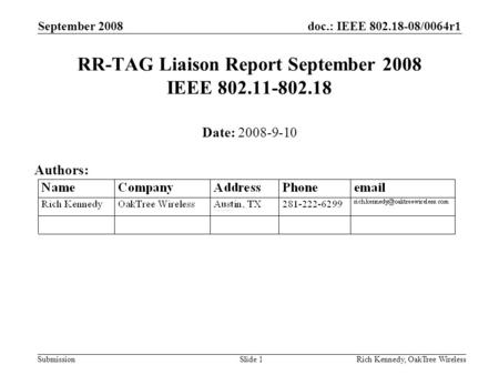 Doc.: IEEE 802.18-08/0064r1 Submission September 2008 Rich Kennedy, OakTree WirelessSlide 1 RR-TAG Liaison Report September 2008 IEEE 802.11-802.18 Date: