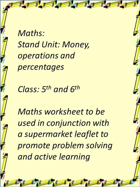 Maths: Stand Unit: Money, operations and percentages