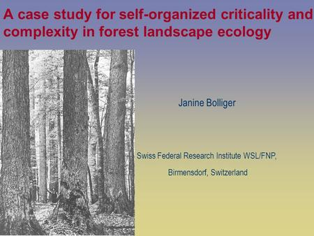 Janine Bolliger Swiss Federal Research Institute WSL/FNP,