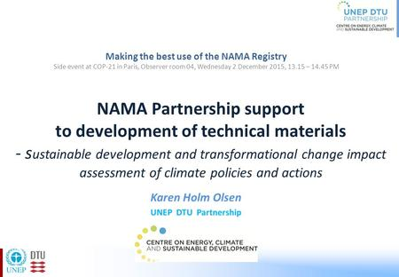 NAMA Partnership support to development of technical materials - s ustainable development and transformational change impact assessment of climate policies.