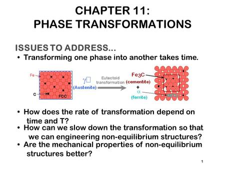 ISSUES TO ADDRESS... Transforming one phase into another takes time. How does the rate of transformation depend on time and T? 1 How can we slow down the.