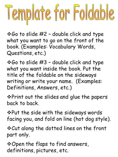  Go to slide #2 – double click and type what you want to go on the front of the book. (Examples: Vocabulary Words, Questions, etc.)  Go to slide #3 –