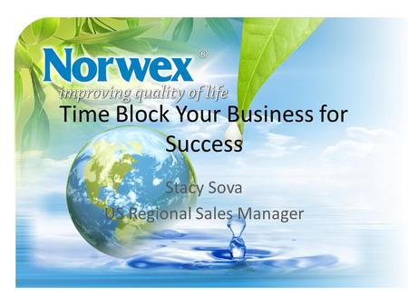Time Block Your Business for Success Stacy Sova US Regional Sales Manager.
