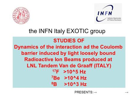 The INFN Italy EXOTIC group Milano, Napoli, Padova, NIPNE Romania, Crakow Poland. Presented by C.Signorini Dept. of Physics and Astronomy Padova (Italy):