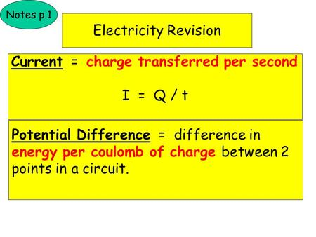 Electricity Revision Notes p.1 Current = charge transferred per second I = Q / t Potential Difference = difference in energy per coulomb of charge between.