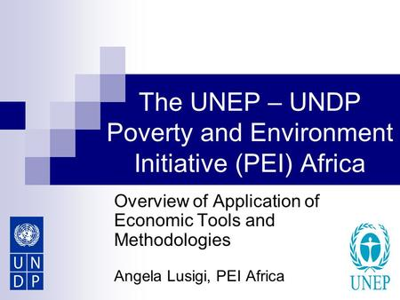 The UNEP – UNDP Poverty and Environment Initiative (PEI) Africa Overview of Application of Economic Tools and Methodologies Angela Lusigi, PEI Africa.