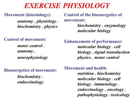 EXERCISE PHYSIOLOGY Movement (kinesiology):