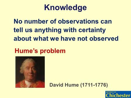 Knowledge No number of observations can tell us anything with certainty about what we have not observed Hume's problem David Hume (1711-1776)