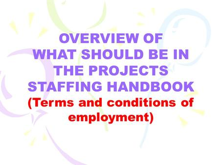 OVERVIEW OF WHAT SHOULD BE IN THE PROJECTS STAFFING HANDBOOK (Terms and conditions of employment)