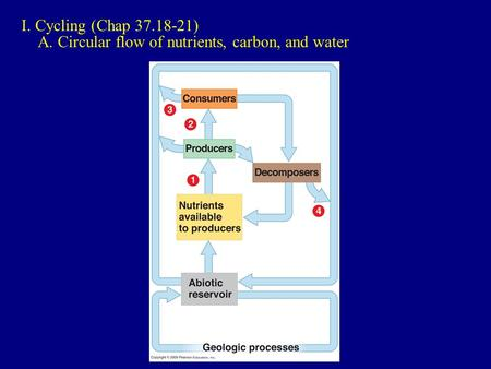 I. Cycling (Chap 37.18-21) A. Circular flow of nutrients, carbon, and water.