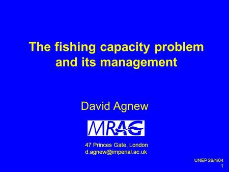UNEP 26/4/04 1 The fishing capacity problem and its management David Agnew 47 Princes Gate, London