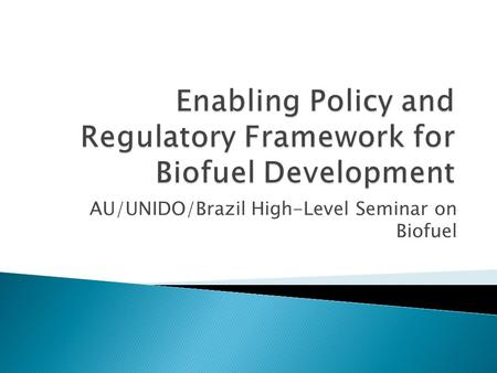 AU/UNIDO/Brazil High-Level Seminar on Biofuel.  Policies are required to reflect the country's development vision for the sector  Required to establish.