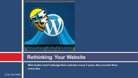 Web leaders don't redesign their websites every 3 years, they nourish them every day (734) 352-0485.
