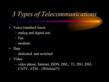 3 Types of Telecommunications Voice (standard lines) –analog and digital sets –Fax –modems Data –dedicated and switched Video –video phone, Internet, ISDN,