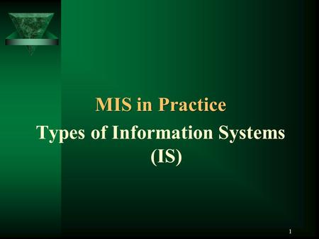 1 MIS in Practice Types of Information Systems (IS)