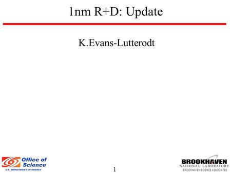 1 BROOKHAVEN SCIENCE ASSOCIATES K.Evans-Lutterodt 1nm R+D: Update.