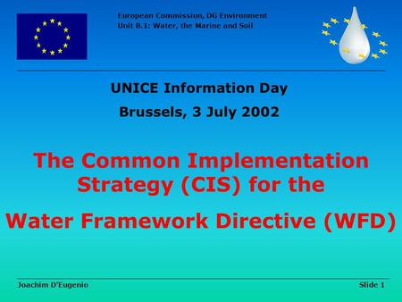 European Commission, DG Environment Unit B.1: Water, the Marine and Soil Joachim D'Eugenio Slide 1 The Common Implementation Strategy (CIS) for the Water.