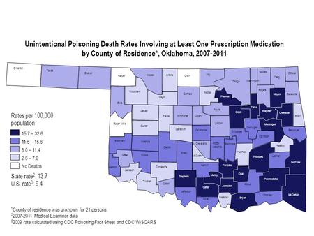 Unintentional Poisoning Death Rates Involving at Least One Prescription Medication by County of Residence*, Oklahoma, 2007-2011 Cimarron Texas Beaver Harper.