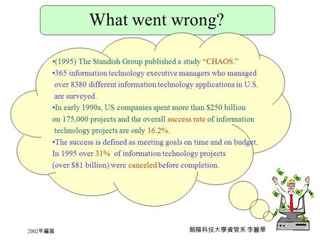 "2002 年編寫 朝陽科技大學資管系 李麗華 What went wrong? (1995) The Standish Group published a study ""CHAOS."" 365 information technology executive managers who managed."