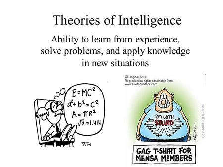 Theories of Intelligence Ability to learn from experience, solve problems, and apply knowledge in new situations.