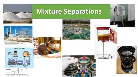 Mixture Separations Mixture Types – Relative Particle Sizes Solution ColloidSuspension Identify separation techniques which are effective for each mixture.
