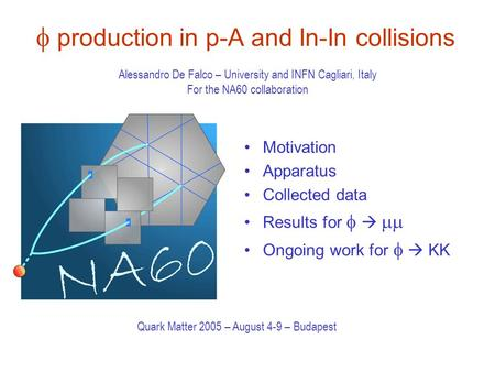  production in p-A and In-In collisions Motivation Apparatus Collected data Results for     Ongoing work for    KK Alessandro De Falco – University.