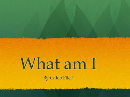 What am I By Caleb Flick It is an insect because it has three body parts. It is an insect because it has three body parts.