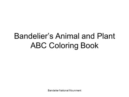 Bandelier National Mounment Bandelier's Animal and Plant ABC Coloring Book.