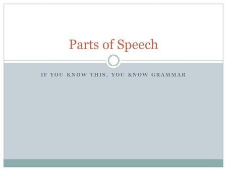 IF YOU KNOW THIS, YOU KNOW GRAMMAR <strong>Parts</strong> <strong>of</strong> Speech.
