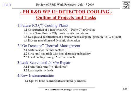 Review of R&D Work Packages- July 4 th 2009 WP 11: Detector Cooling - Paolo Petagna 1/11 PH-DT - PH R&D WP 11: DETECTOR COOLING - Outline of Projects and.