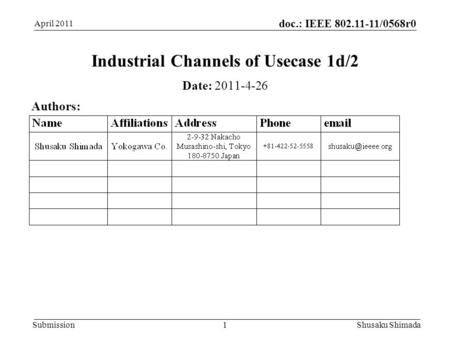Doc.: IEEE 802.11-11/0568r0 Submission April 2011 Shusaku Shimada 1 Industrial Channels of Usecase 1d/2 Date: 2011-4-26 Authors:
