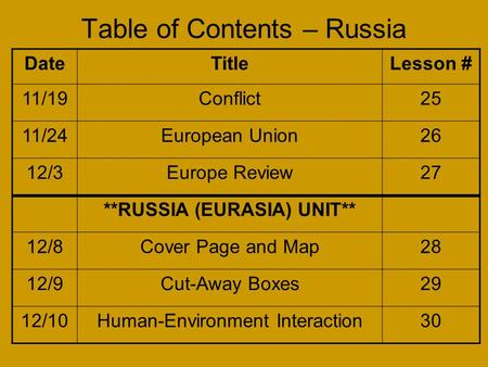 Table of Contents – Russia DateTitleLesson # 11/19Conflict25 11/24European Union26 12/3Europe Review27 **RUSSIA (EURASIA) UNIT** 12/8Cover Page and Map28.