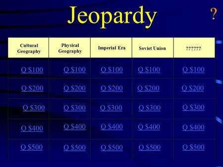 Jeopardy Cultural Geography Physical Geography Imperial Era Soviet Union ?????? Q $100 Q $200 Q $300 Q $400 Q $500 Q $100 Q $200 Q $300 Q $400 Q $500.