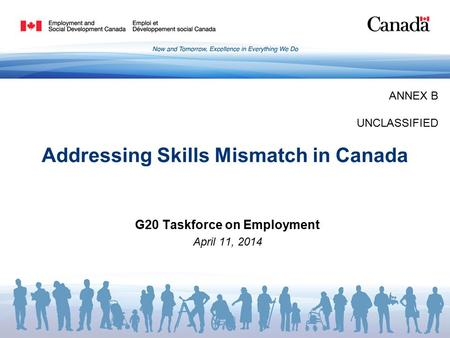 Addressing Skills Mismatch in Canada G20 Taskforce on Employment April 11, 2014 ANNEX B UNCLASSIFIED.