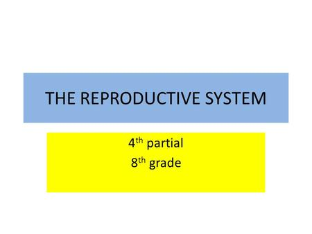 THE REPRODUCTIVE SYSTEM 4 th partial 8 th grade. The Male Reproductive System The organs of the male reproductive system are specialized for the following.