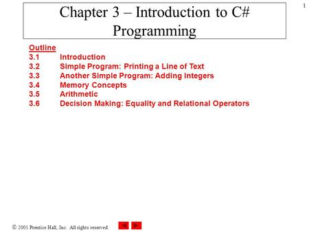  2001 Prentice Hall, Inc. All rights reserved. 1 Chapter 3 – Introduction to C# Programming Outline 3.1 Introduction 3.2 Simple Program: Printing a Line.