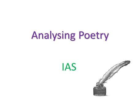 Analysing Poetry IAS.