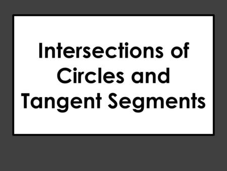 Intersections of Circles and Tangent Segments. R S T If two segments from the same exterior point are tangent to a circle, then they are congruent. Party.