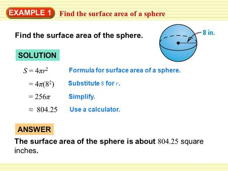 Find the surface area of a sphere