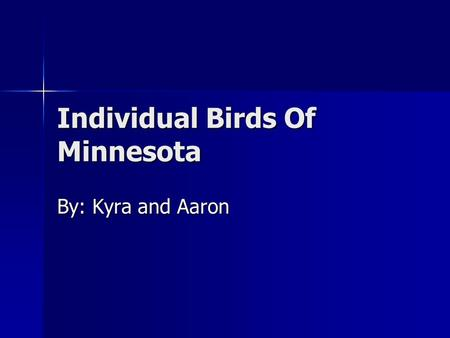 Individual Birds Of Minnesota By: Kyra and Aaron.