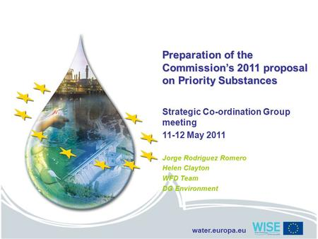 Water.europa.eu Preparation of the Commission's 2011 proposal on Priority Substances Strategic Co-ordination Group meeting 11-12 May 2011 Jorge Rodriguez.
