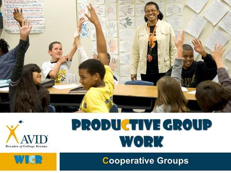 Productive Group Work Cooperative Groups WICR.  Conversations are central to high-quality professional development.  Look at NSDC, Title II, or your.