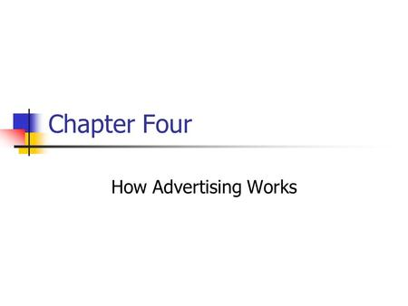"Chapter Four How Advertising Works. Prentice Hall, © 20094-2 If someone says, ""I know half my advertising is wasted, but I don't know which half,"" is."