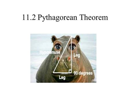 11.2 Pythagorean Theorem. Applies to Right Triangles Only! leg Leg a hypotenuse c Leg b.