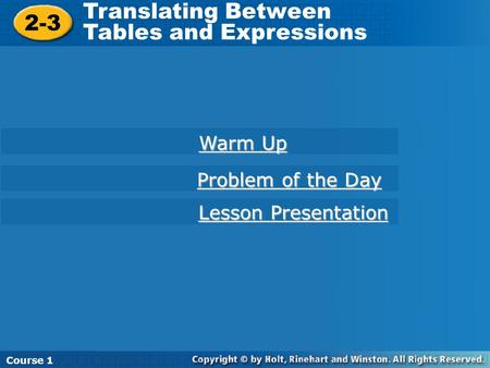 Translating Between Tables and Expressions 2-3