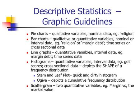 Descriptive Statistics – Graphic Guidelines