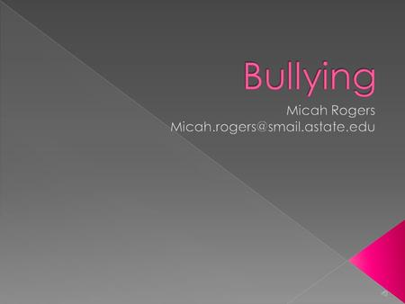  Bullying is defined as a form of aggressive behavior in which someone intentionally and repeatedly causes someone harm or discomfort. This includes: