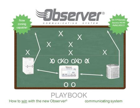 PLAYBOOK o o o o o oo oo o o o o oo o X XXXXXXXXXXXXXX C O M M U N I C A T I N GS Y S T E M How to win with the new Observer ® communicating system XX.