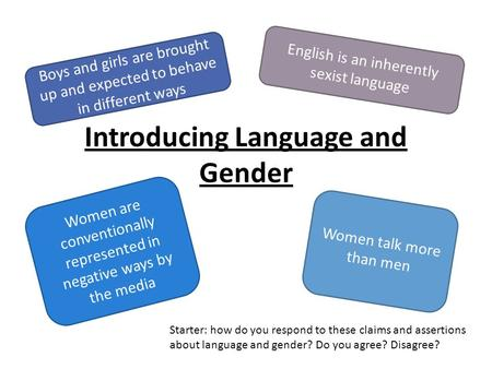 Introducing Language and Gender Boys and girls are brought up and expected to behave in different ways English is an inherently sexist language Women are.