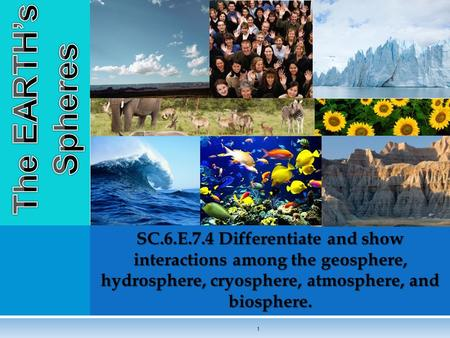 The EARTH's Spheres SC.6.E.7.4 Differentiate and show interactions among the geosphere, hydrosphere, cryosphere, atmosphere, and biosphere.